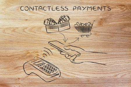 contactless: contactless payments, customer using nfc technology via smartphone at pos