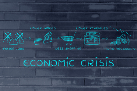 crisis economica: economic crisis: fewer jobs, lower wages, less shopping, lower revenues Foto de archivo