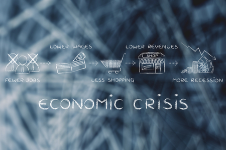 fewer: economic crisis: fewer jobs, lower wages, less shopping, lower revenues Stock Photo