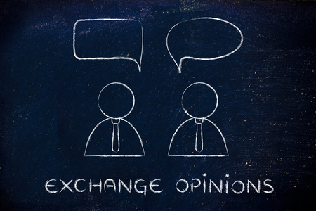 opinions: exchange opinions: businessmen conversation minimalistic style flat design with comic bubbles
