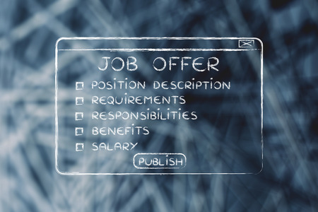 publish: publish a job offer: list of main elements in a pop-up window design Stock Photo