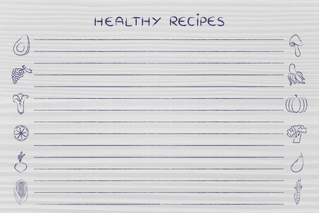 add text: healthy recipes, template with fruit and vegetables icons and lines to add text