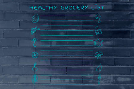 add text: healthy grocery list, template with fruit and vegetables icons and lines to add text