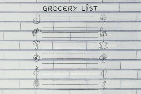 Gesunden Einkaufsliste, Vorlage Mit Obst Und Gemüse Icons Und Linien ...
