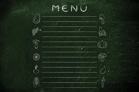 add text: healthy food menu template with fruit and vegetables icons and lines to add text