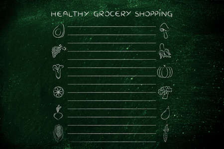 add text: healthy grocery shopping, template with fruit and vegetables icons and lines to add text