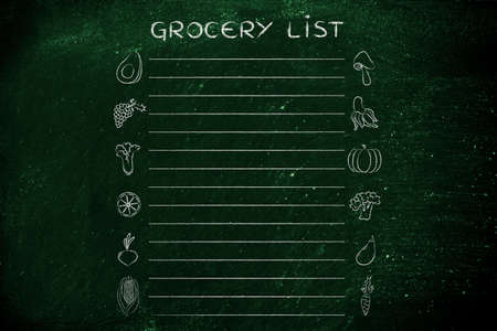 add text: grocery list template with fruit and vegetables icons and lines to add text Stock Photo