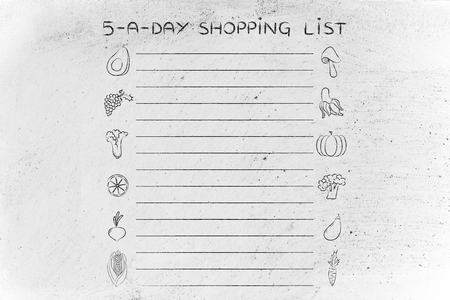 add text: 5-a-day shopping list, template with fruit and vegetables icons and lines to add text