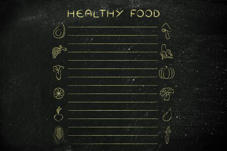 add text: grocery list template with fruit an vegetables icons and lines to add text