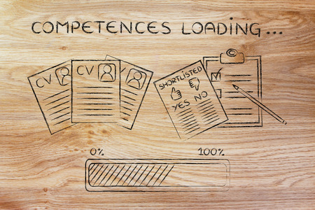 competences: competences loading: CV and shortlist of candidates with progress bar, concept of building a great resume Stock Photo