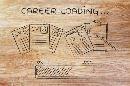 career loading: CV and shortlist of candidates with progress bar, concept of building a great resume Stock Photo