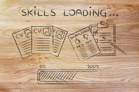 compétences chargement: CV et liste des candidats avec barre de progression, le concept de la construction d'un grand résumé Banque d'images