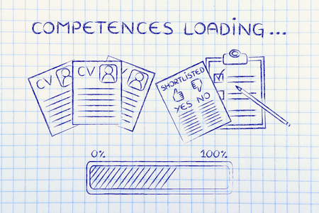 competences loading: CV and shortlist of candidates with progress bar, concept of building a great resume Zdjęcie Seryjne