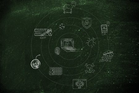 orbiting: cyber security and privacy threat symbols orbiting around a laptop Stock Photo