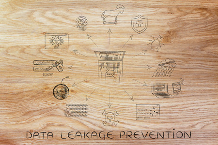leakage: data leakage prevention: laptop surrounded by cyber security and privacy symbols