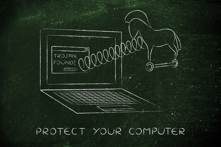 trojan horse: trojan horse coming out of laptop screen with a spring, protect your computer