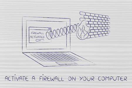 firewall coming out of laptop screen with a spring, activate one on your computer