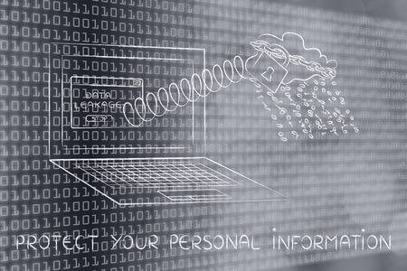 cloud with binary code rain coming out of laptop screen with a spring, protect your personal information