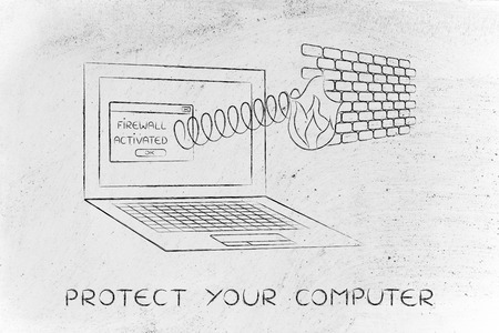 firewall coming out of laptop screen with a spring, protect your computer Stock Photo