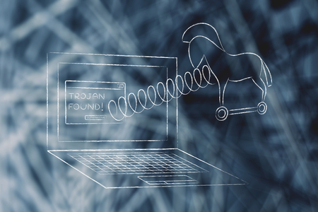 trojan horse: trojan horse coming out of laptop screen with a spring Stock Photo