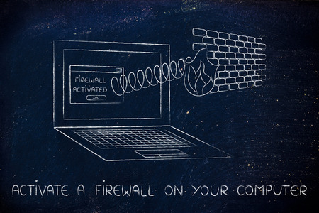 activate: firewall coming out of laptop screen with a spring, activate one on your computer
