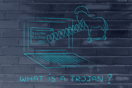 trojan horse: trojan horse coming out of laptop screen with a spring, what is a trojan?