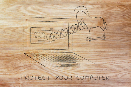 trojan: trojan horse coming out of laptop screen with a spring, protect your computer