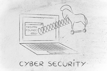 trojan horse coming out of laptop screen with a spring, cyber security