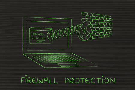 firewall protection coming out of laptop screen with a spring