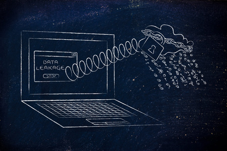 leakage: cloud with binary code rain coming out of laptop screen with a spring, concept of data leakage