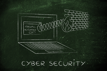 firewall coming out of laptop screen with a spring, cyber security