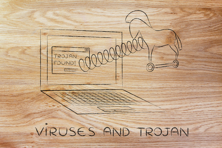 cavallo di troia: trojan horse coming out of laptop screen with a spring, viruses and trojan Archivio Fotografico