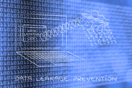 leakage: cloud with binary code rain coming out of laptop screen with a spring, data leakage prevention Stock Photo
