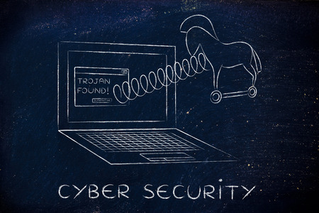 cavallo di troia: trojan horse coming out of laptop screen with a spring, cyber security