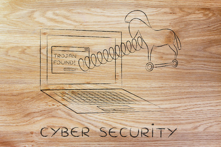 trojan horse: trojan horse coming out of laptop screen with a spring, cyber security