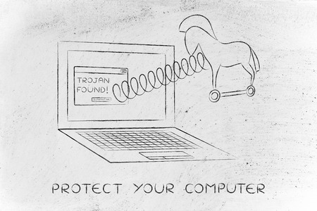 trojan horse coming out of laptop screen with a spring, protect your computer