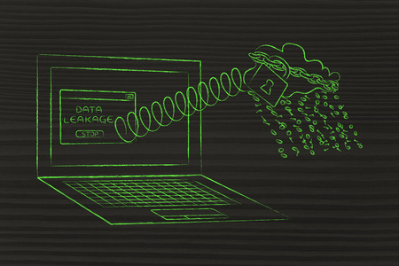 cloud with binary code rain coming out of laptop screen with a spring, concept of data leakage
