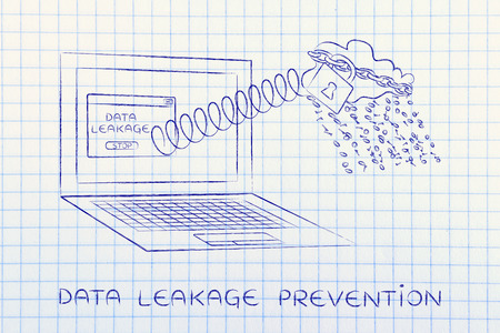 cloud with binary code rain coming out of laptop screen with a spring, data leakage prevention Stock Photo