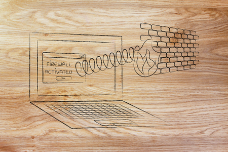 firewall coming out of laptop screen with a spring, concept of internet security