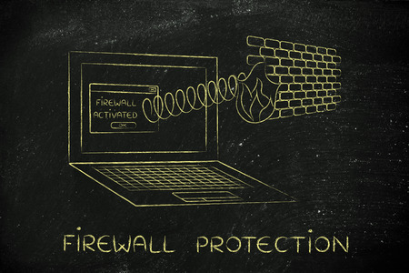 firewall protection: firewall protection coming out of laptop screen with a spring