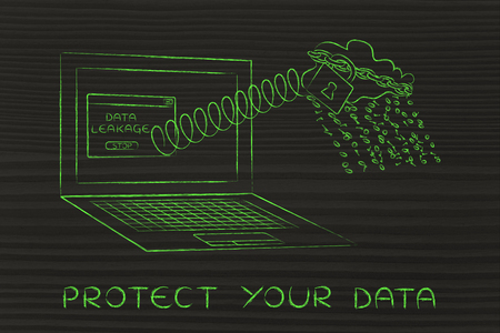 cloud with binary code rain coming out of laptop screen with a spring, protect your data
