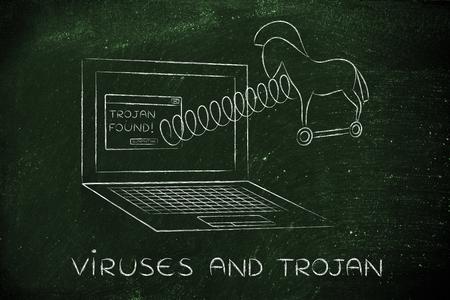 cavallo di troia: cavallo di troia che esce schermo del computer portatile con una molla, virus e trojan Archivio Fotografico