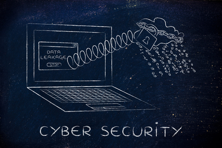 cloud with binary code rain coming out of laptop screen with a spring, cyber security