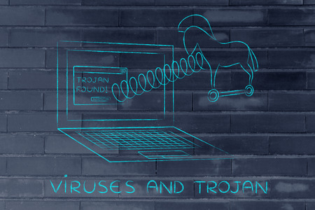 trojan horse: trojan horse coming out of laptop screen with a spring, viruses and trojan Stock Photo
