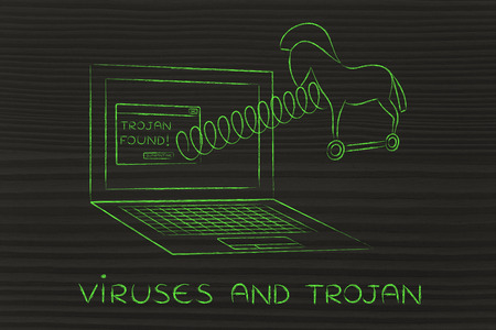trojan: trojan horse coming out of laptop screen with a spring, viruses and trojan Stock Photo