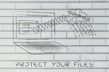 cloud with binary code rain coming out of laptop screen with a spring, protect your files