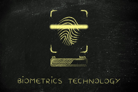 finger proof: biometrics technology: fingerprint scan in progress, with glow effect and loading bar