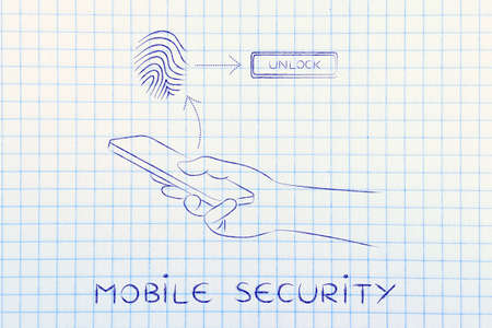 unlocking: mobile security: smartphone user unlocking his mobile with fingerprint technology Stock Photo