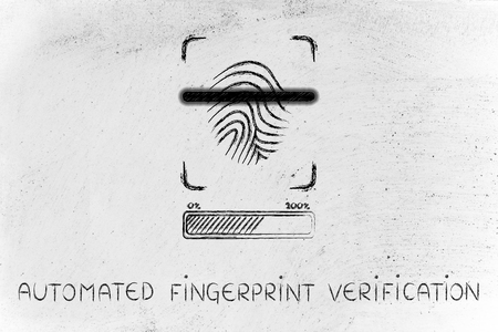 verification: automated fingerprint verification: scan in progress, with glow effect and loading bar