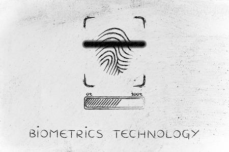 biometrics: biometrics technology: fingerprint scan in progress, with glow effect and loading bar